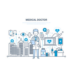 Therapist in medical dressing with patient s card vector