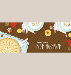 Traditional table for rosh hashanah jewish new vector