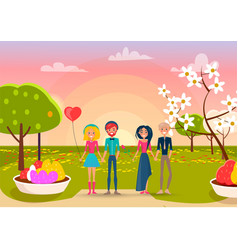 two loving couples on sunset in park background vector image