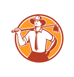 Urban farmer grab hoe circle retro vector