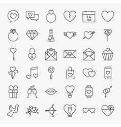 Valentine Day Line Icons Big Set vector