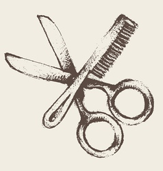 vintage hairdresser utensils vector image