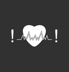 White icon on black background heart with cardio vector