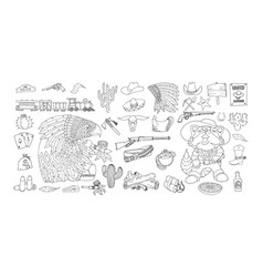 Wild west elements icons set ink and pen drawing vector