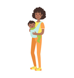 young mother with baby son in a sling vector image