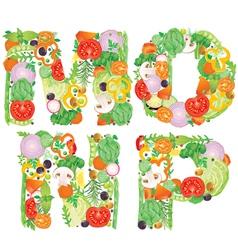 Alphabet of vegetables MNOP vector image vector image