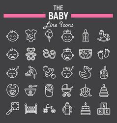 baby line icon set kid symbols collection vector image vector image