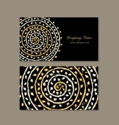 business card design golden mandala vector image