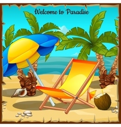 Card on the ocean with palm trees and sun loungers vector image