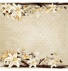 Decorative floral vintage background with lily vector image vector image