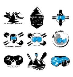Set winter sport logo design template elements vector image