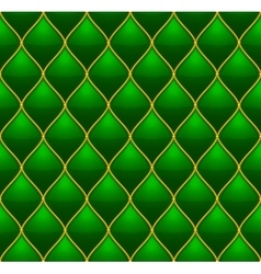 Green with Gold Quilted Leather Seamless vector image vector image