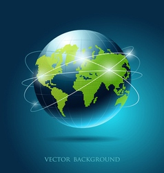 Modern globe network blue background vector