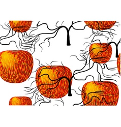 seamless texture with apple and tree vector image vector image