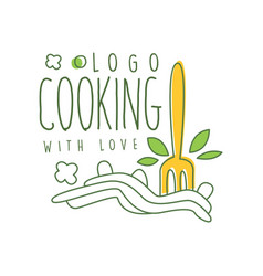 cooking with love logo design with of vector image