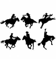 cowboys silhouettes vector image vector image