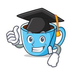 Garduation tea cup character cartoon vector