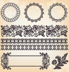 Set of ornate page decor elements borders banner vector