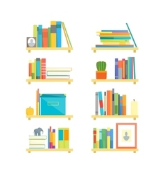 Shelves with Books and Different Things Set vector image vector image