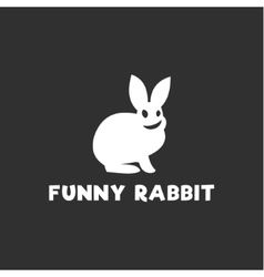 Smiling funny rabbit silhouette logo design single vector image vector image