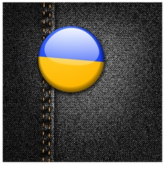 Ukraine Flag on Black Denim vector image