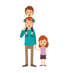 colorful image caricature young father with boy on vector image vector image
