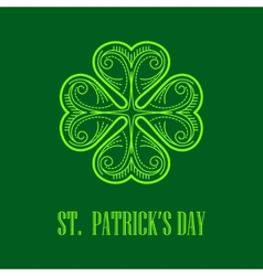 Linear monogram Saint Patricks Day vector image