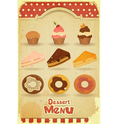 pastry on retro background vector image