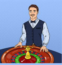 pop art croupier behind roulette casino gambling vector image vector image