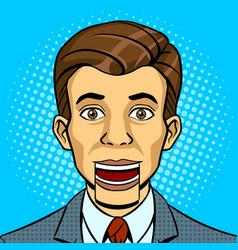 speaking puppet head pop art style vector image vector image