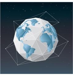 White earth globe geometrical background vector image