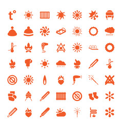 49 warm icons vector image