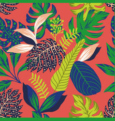 abstract color tropical leaves seamless vector image