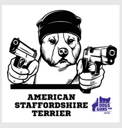 American staffordshire terrier dog with two vector