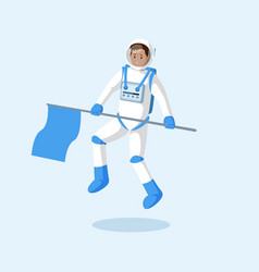 Astronaut with flag floating flat vector