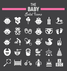 Baby solid icon set kid symbols collection vector