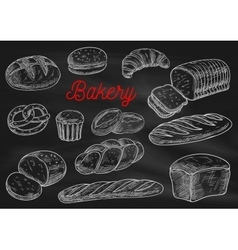 Bakery products chalk sketches on blackboard vector