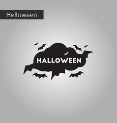 Black and white style icon halloween cloud bats vector