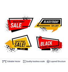 black friday badges set geometric shapes and text vector image