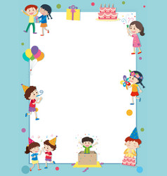Border template with happy kids at party vector