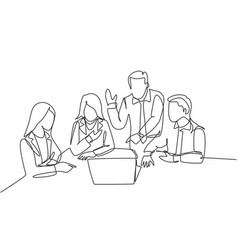 business meeting concept one single line drawing vector image