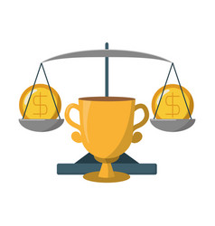 Business trophy coins on balance vector