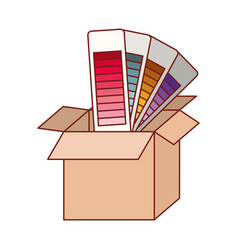 Cardboard box and color palette guide in colorful vector