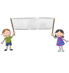 Cartoon little kid holding banner vector