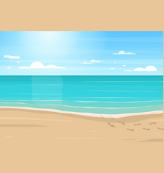cartoon sandy beach sea and blue sky vector image