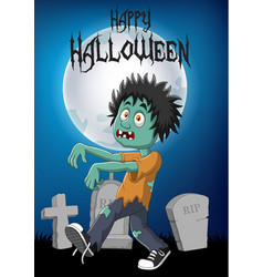 cartoon zombie with halloween background vector image