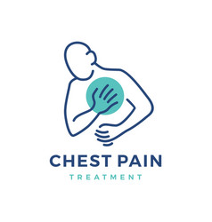 chest pain treatment and heartache attack logo vector image