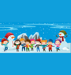 children and snowman standing in snow vector image