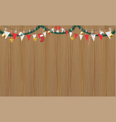 christmas hang decorative on wood board background vector image