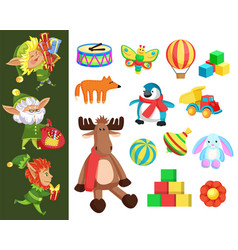 christmas holiday elves and gift boxes or toys vector image